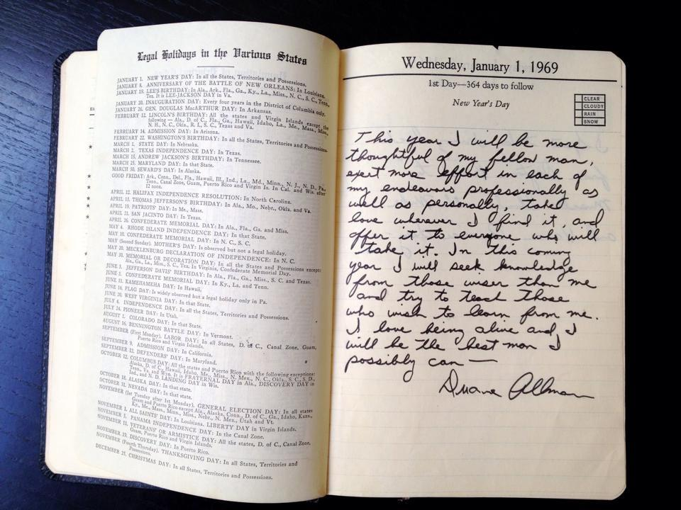 Duane Allman's journal entry, New Year's Day 1969